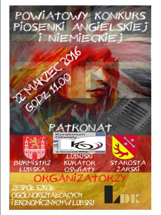 Powiatowy Konkurs Piosenki Lubsko 2016 plakat