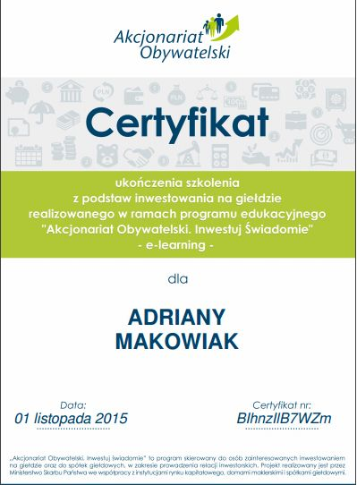 certyfikat Ada